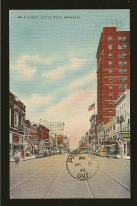 USA Postmark 1946 Main Street Little Rock Arkansas Linen Postcard
