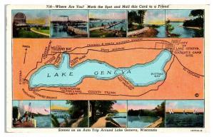 Lake Geneva, WI Map Postcard *5E3