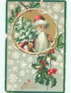 Pre-Linen Christmas SANTA CLAUS CARRYING LITTLE TREE AB5017
