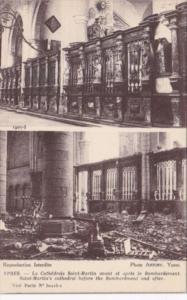 Belgium Ypres La Cathedrale Saint Martin avant et apres le Bombardement
