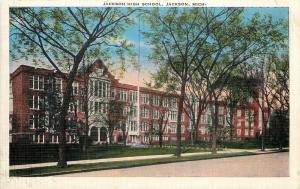 Jackson Michigan~High School~1948 Linen Postcard