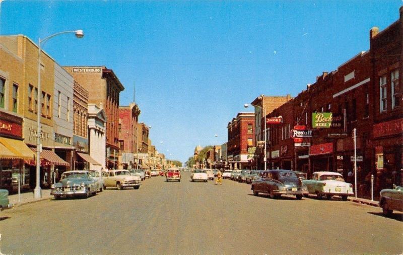 Mitchell SD~Becker's Men's Wear~Main Street~Rexall~Shoe Store 1950s Postcard