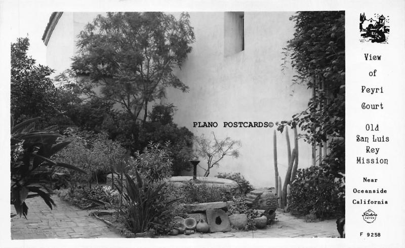 OCEANSIDE, CALIFORNIA VIEW OF PEYRI COURT,  MISSION RPPC REAL PHOTO POSTCARD
