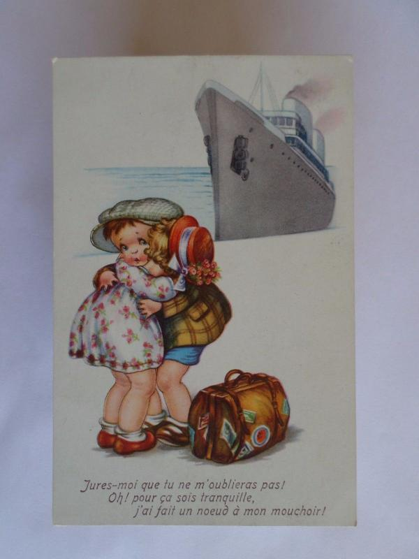 ART POSTCARD SHIPS SHIP OCEAN LINER PAQUEBOT & LOVELY COUPLE 1910 YEARS z1
