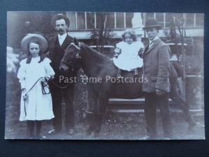 TWO LITTLE GIRLS WITH HORSE / PONY early 1900's RP Postcard