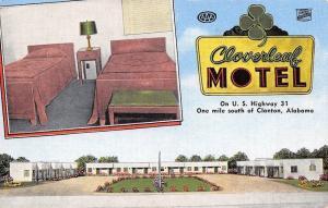 Clanton Alabama~Cloverleaf Motel~Twin Beds~Art Deco Bldgs~1950 Linen Postcard