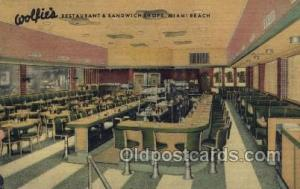 Miami Beach, FL USA Wolfies Restaurant Old Vintage Antique Postcard Post Card...