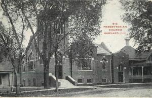 c-1910 Harvard Illinois Presbyterian Church Hoffman postcard 7729
