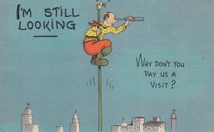 Comic: I'm Still Looking ... Why don't you pay us a visit? Man on a flag po...