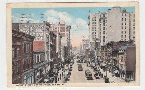 P2081, 1917 postcard trolly & tracks old cars signs etc market st. newark NJ