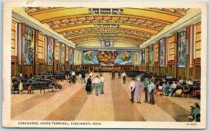 Cincinnati OH Postcard Concourse, Union Terminal Railroad Depot / Murals Linen