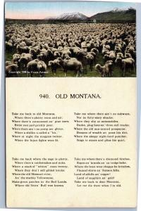 postcard MT song Old Montana lyrics with picture of sheep and mountains