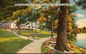 New York Utica Main Building Round Lake Camp Of Masonic Home 1936