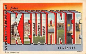 Kewanee Illinois~Large Letter Linen Postcard~NE Ball Park Night Lights~1943 PC