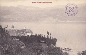 Aerial View of Notre-Dame d ´Hautecombe and Lake,  Aix les Bains, Savoie, Fr...