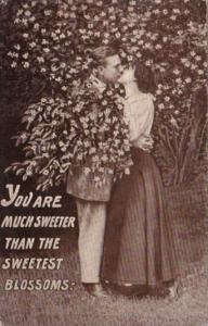 Romantic Couple Kissing You Are More Sweeter The The Sweetest Blossoms 1911