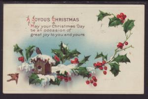 A Joyous Christmas,Bird,Holly Postcard