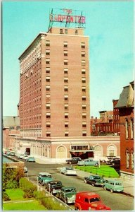 1959s Manchester, NH Postcard CARPENTER HOTEL Street View Dexter Chrome Unused