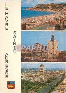 Modern Postcard Le Havre Sainte Adresse Cape of Heve Beach and La Cathedrale ...