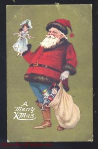 A MERRY XMAS CHRISTMAS SANTA CLAUS BLUE PANTS GOLD BORDER VINTAGE POSTCARD