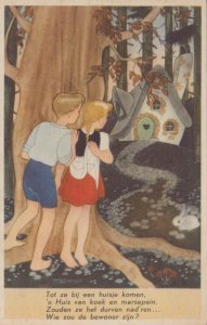 AS: WILLY SCHERMELE; 1920-30s; Hansel and Gretel looking at candy house, rabbit