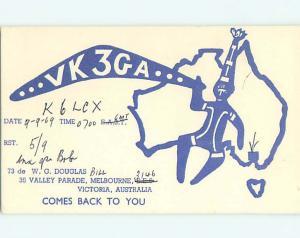 1969 vintage QSL CB HAM RADIO CARD Victoria AUSTRALIA s0379