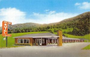 Bluefield West Virginia~Bel-Air Motel~Lawnchairs at Office~1950 Postcard