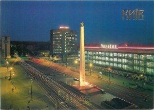 Postcard Ukraine Kiev Victory Square obelisk to Hero City of Kiev