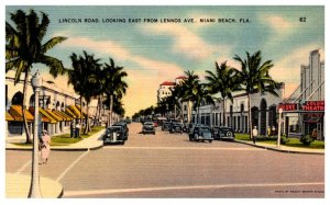 Florida Miami Beach , Lincoln Road , looking East from Lennox Avenue