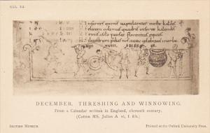 England Oxford British Museum 11th Century Calendar December Threshing and Wi...