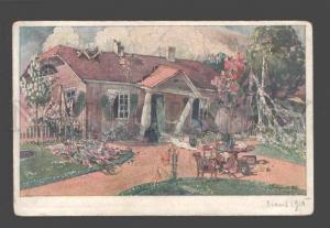 086304 Old Rural Manor By PODBERSKY vintage Russian colorfulPC