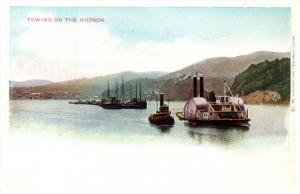 9560   Tug Boats towing Paddlewheel Steamer on the Hudson River NY