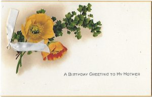 A Birthday Greeting to Mother Poppies Ribbon Sentimental Poem Unused