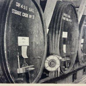 Wine Vaults, Barrels, Italian Swiss Colony Winery, CA, Asti, California Postcard