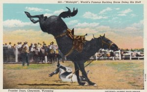 CHEYENNE, Wyoming, 1930-40s; Frontier Days, Midnight, Bucking Horse Doing H...