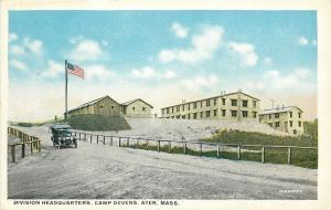 Ayer Massachusetts~Model Car~Division Headquarters~Camp Devens~WWI Era Postcard