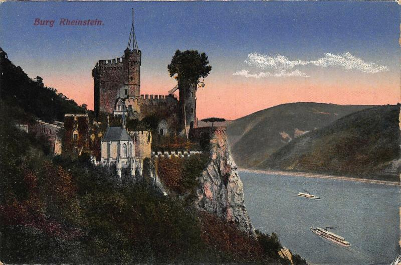 Burg Rheinstein Castle Chapel River Boats Postcard