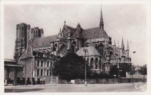 France Reims Place Carnegie et la Cathedrale Real Photo