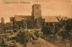 Folkestone Parish Church Graveyard Eglise Postcard
