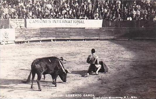 Mexico Monterrey Guadalupe Bull Fight Lorenzo Garza Real Photo RPPC