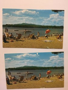 Sandy Beach Scene Woodbound Inn and Cottages Jaffrey New Hampshire NH Postcard