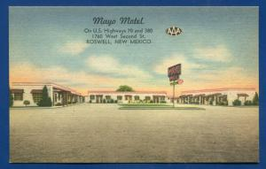Mayo Motel Roswell New Mexico nm linen postcard