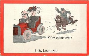 Going Some in St Louis MO~Old Man on Horse Chases Young Couple in Car~1912 PC