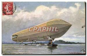 Old Postcard Jet Aviation Zeppelin Airship