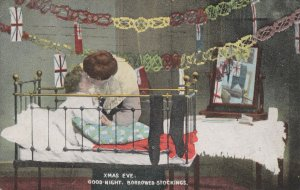 Christmas Eve Military Flags as Stockings Greetings Old Postcard
