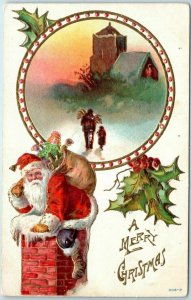 1909 Merry Christmas Postcard SANTA CLAUS Climbing Down Chimney / Church Scene