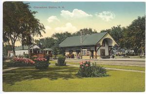 Charlestown NH Trolley  Railroad Station Train Depot Postcard