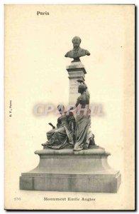 Old Postcard Paris Monument Emile Augier