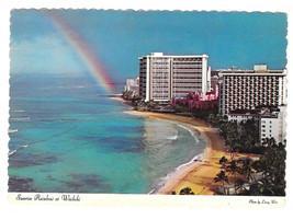 Hawaii Sheraton Waikiki Hotel Rainbow Sunrise 1974 Vtg 4X6 Postcard HI