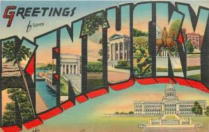 Kentucky~Greetings~Capitol Large Letter Linen~1944 Collector From Pryorsburg